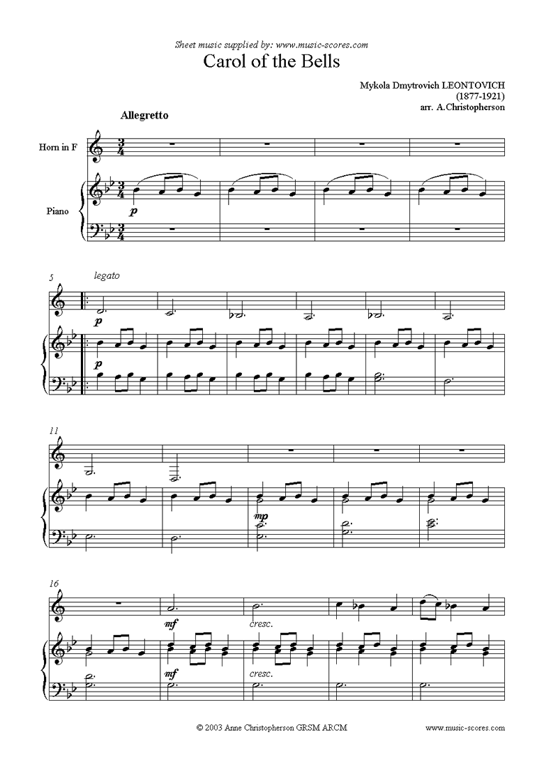 Front page of Carol of the Bells - French Horn sheet music