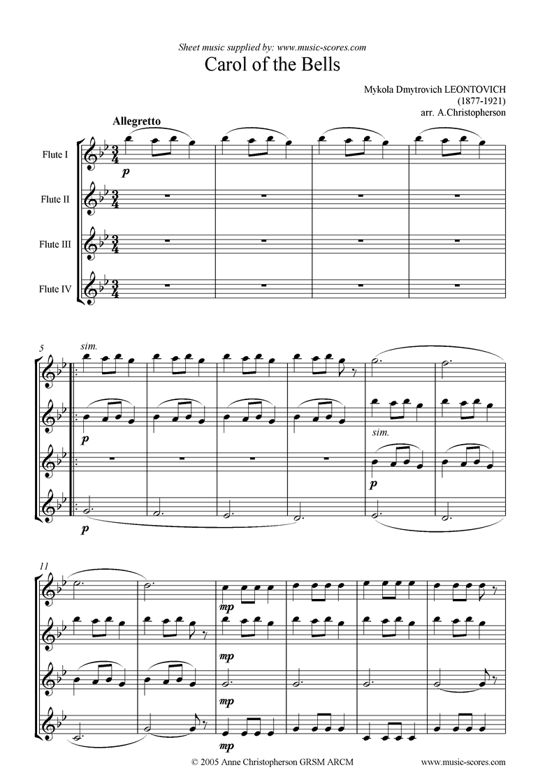 Front page of Carol of the Bells - Flute Quartet sheet music