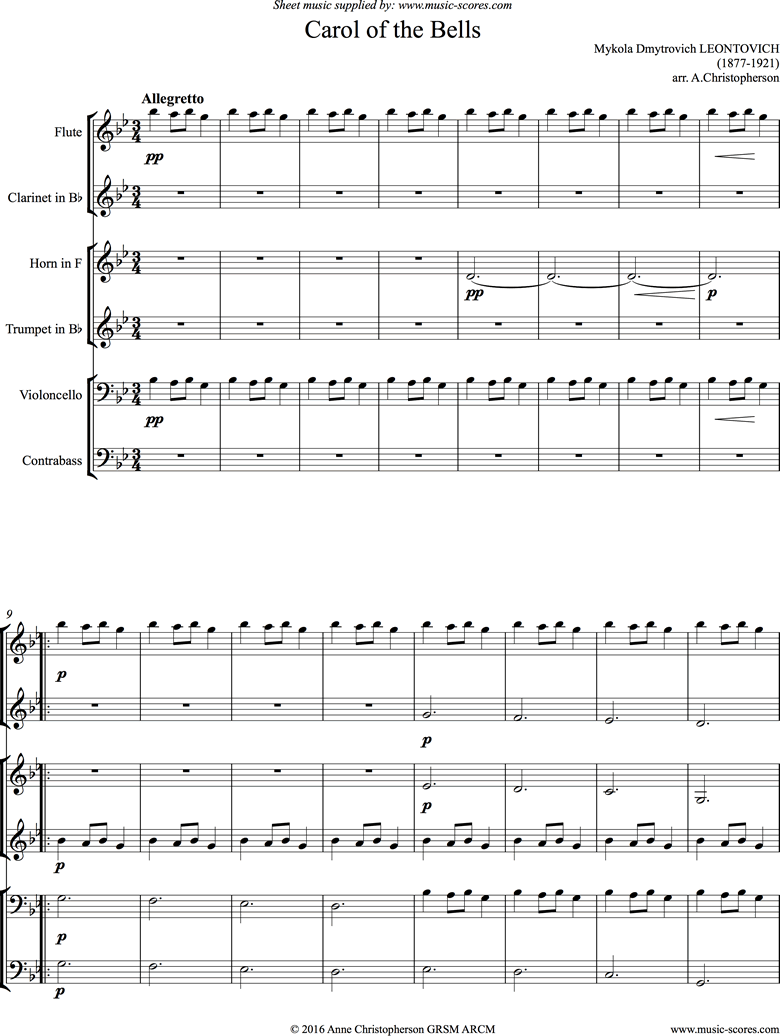 Front page of Carol of the Bells - Flute, Clarinet, Trumpet, Horn, Cello, Double Bass sheet music