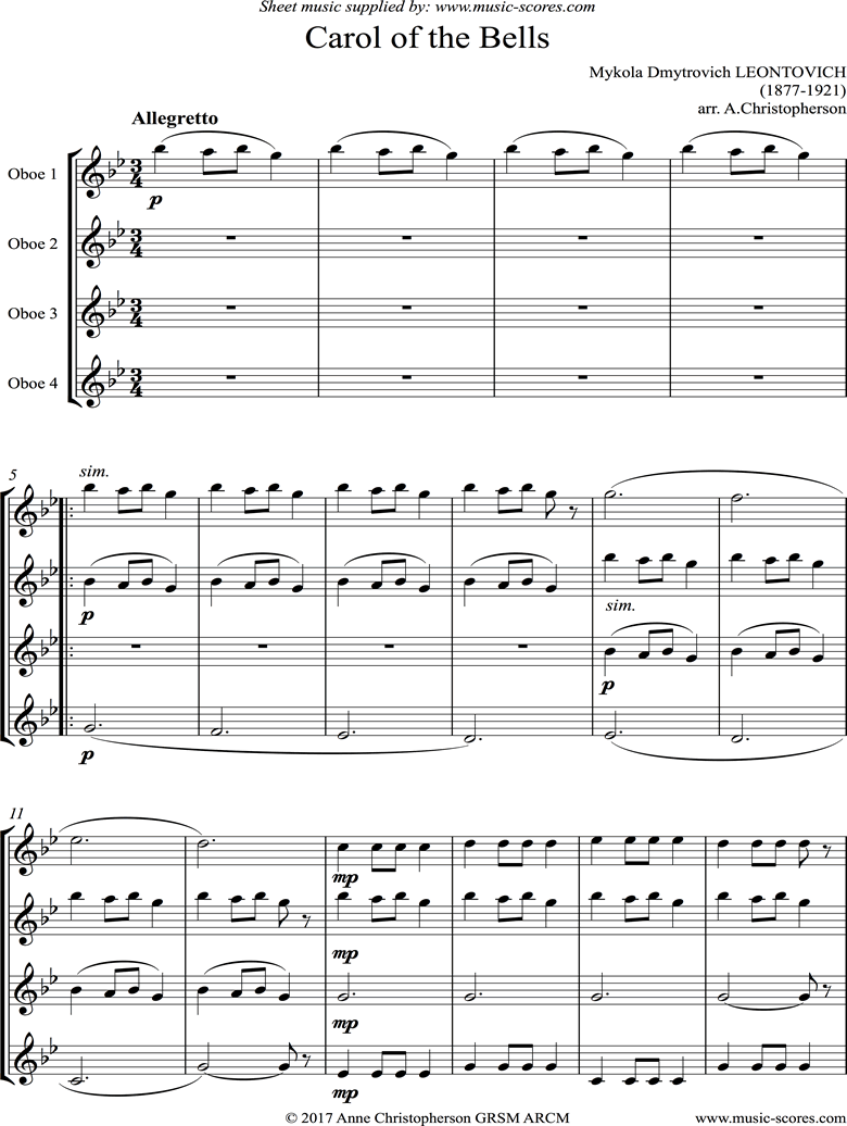 Front page of Carol of the Bells - 4 Oboes sheet music