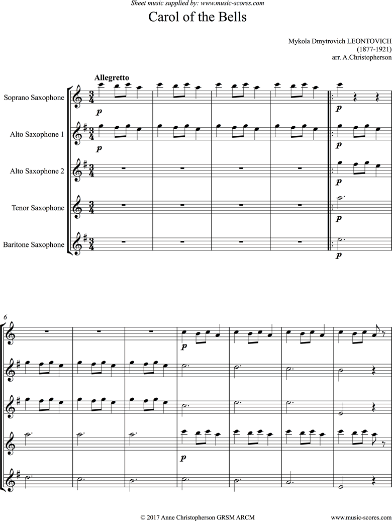 Front page of Carol of the Bells - Saxophone Quintet sheet music