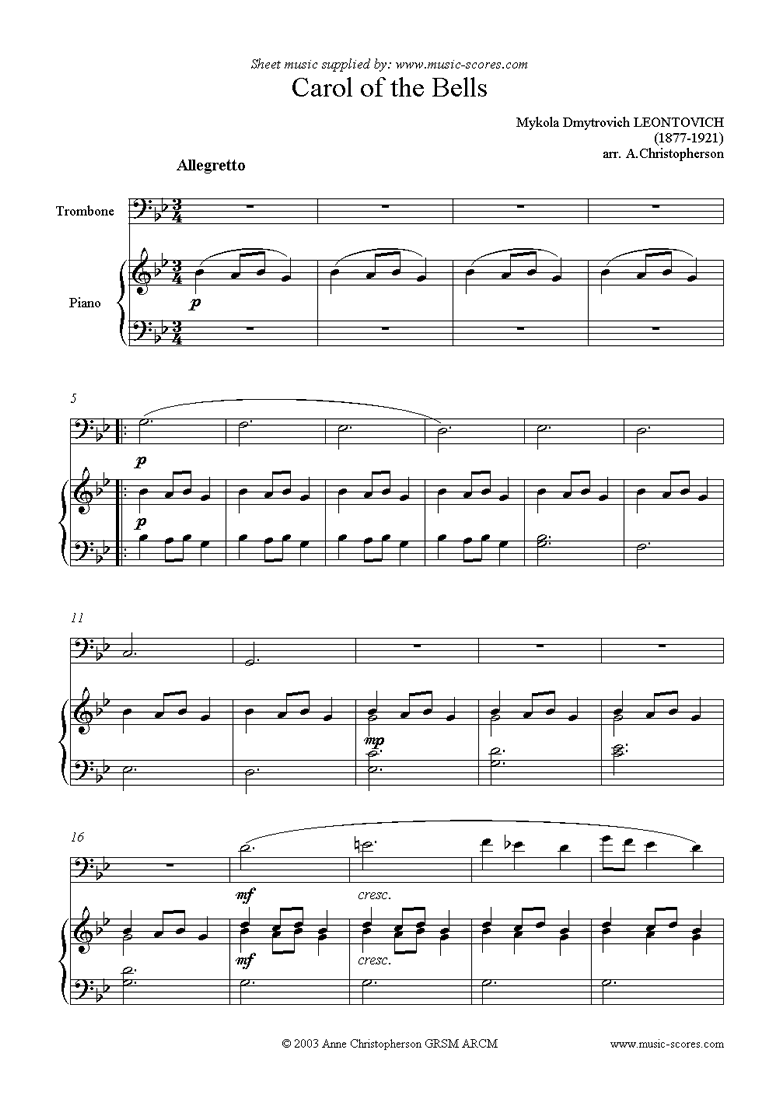 Front page of Carol of the Bells - Trombone sheet music