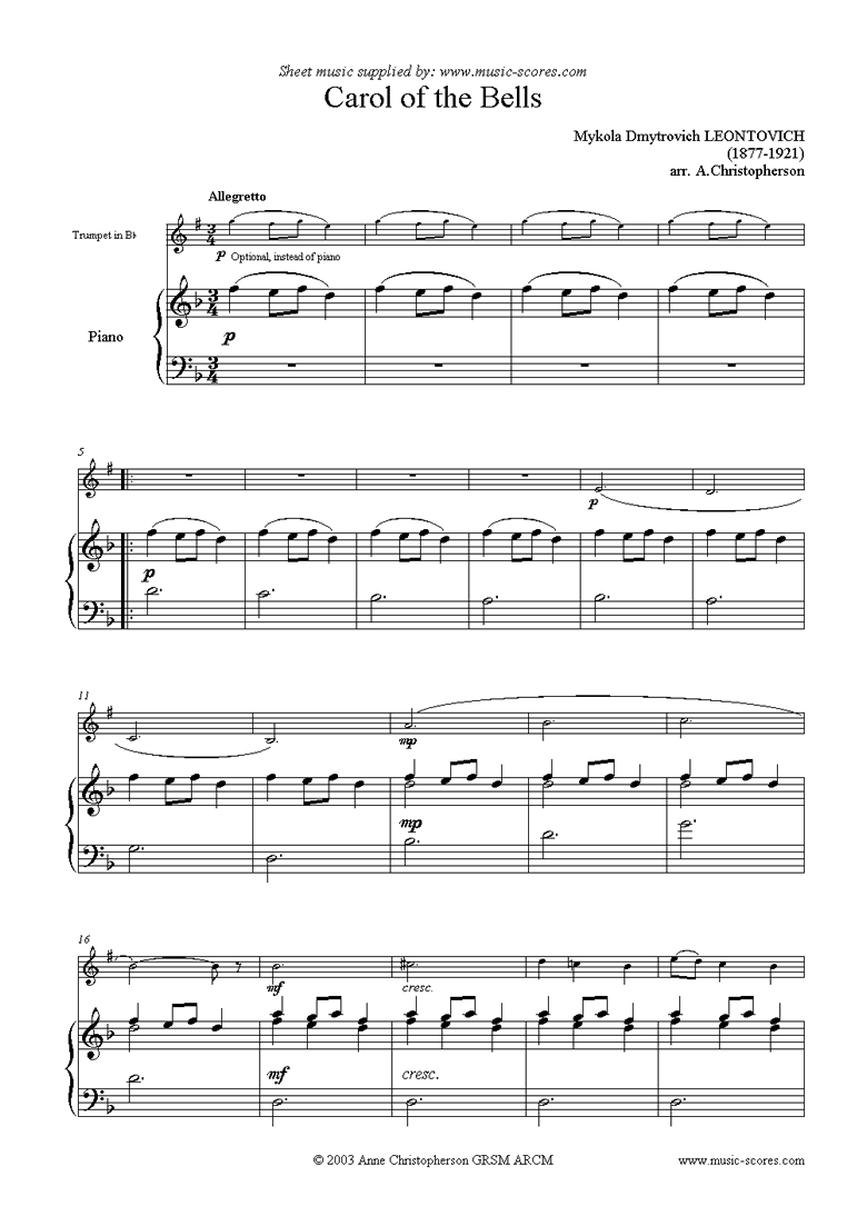 Front page of Carol of the Bells - Trumpet sheet music