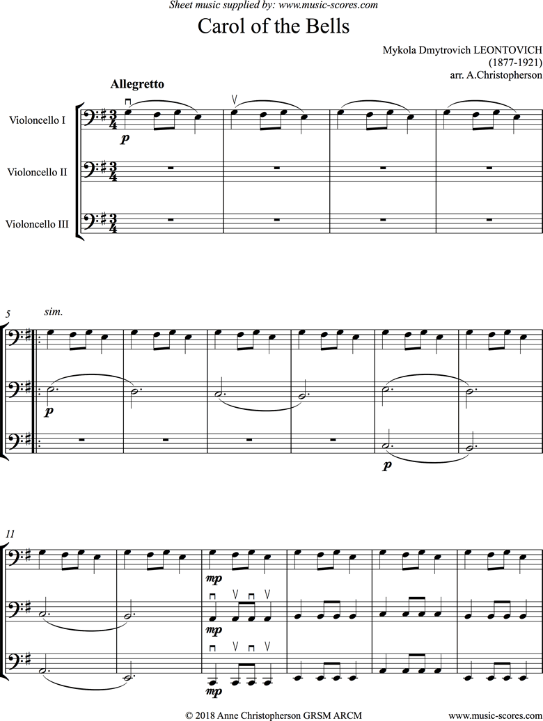 Front page of Carol of the Bells - 3 Cellos: low, easier sheet music
