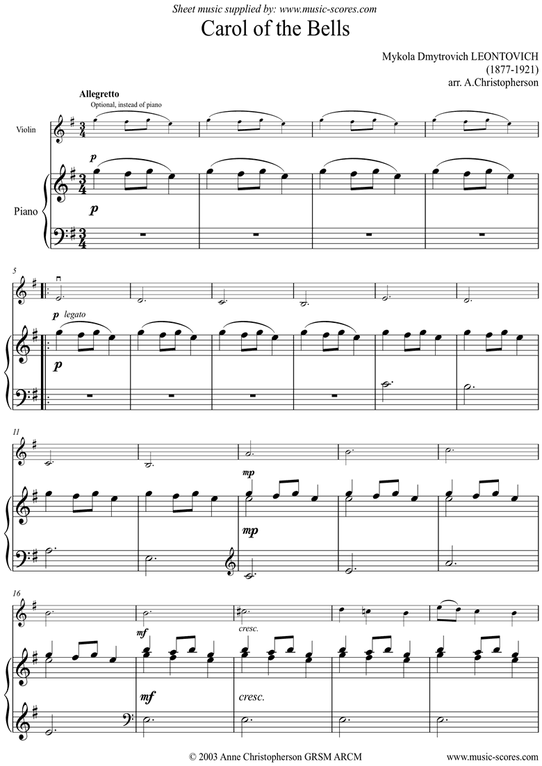 Front page of Carol of the Bells - Violin - E minor sheet music