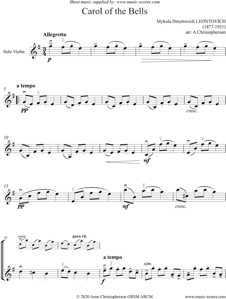 Front page of Carol of the Bells - Solo Violin sheet music