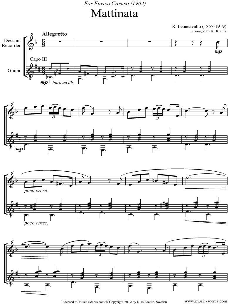 Front page of Mattinata: Descant Recorder, Guitar sheet music