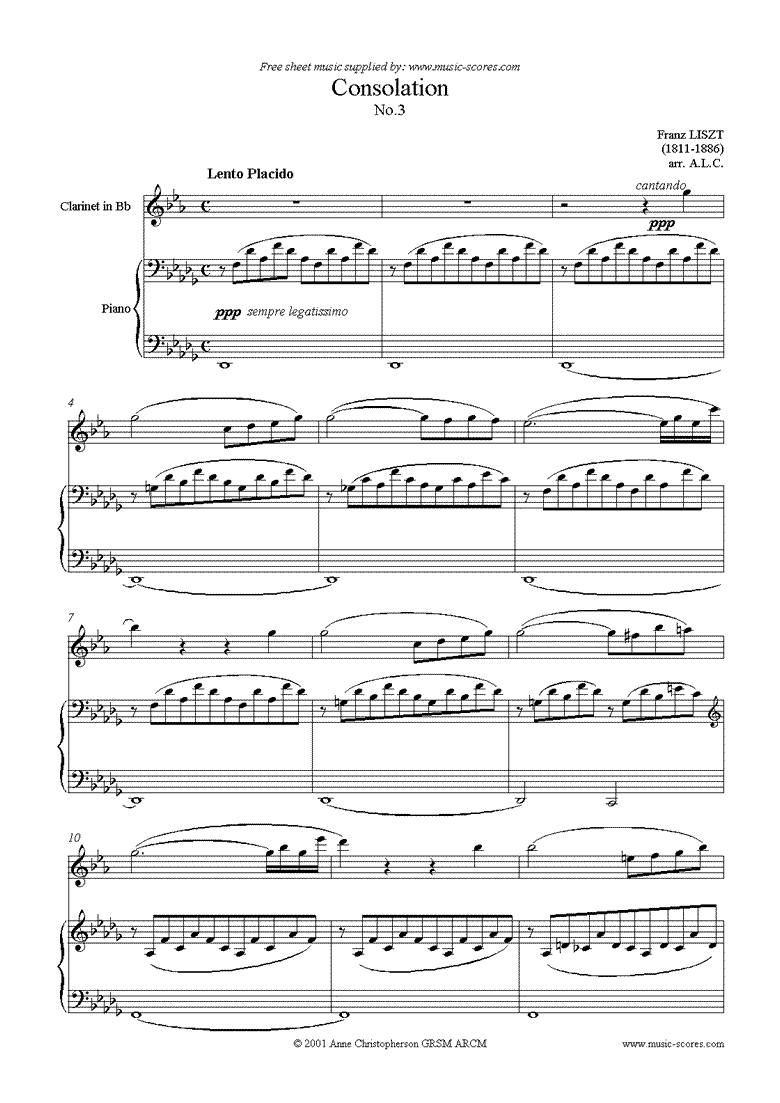 Front page of Consolation No.3: Clarinet sheet music