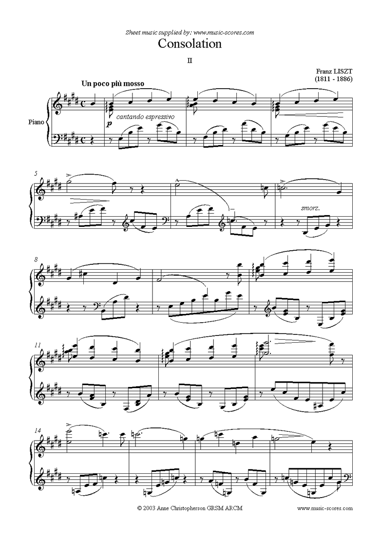Front page of Consolation No.2: Piano sheet music