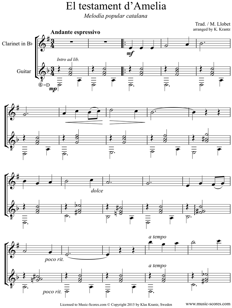 Front page of El Testament d Amelia: Clarinet, Guitar sheet music
