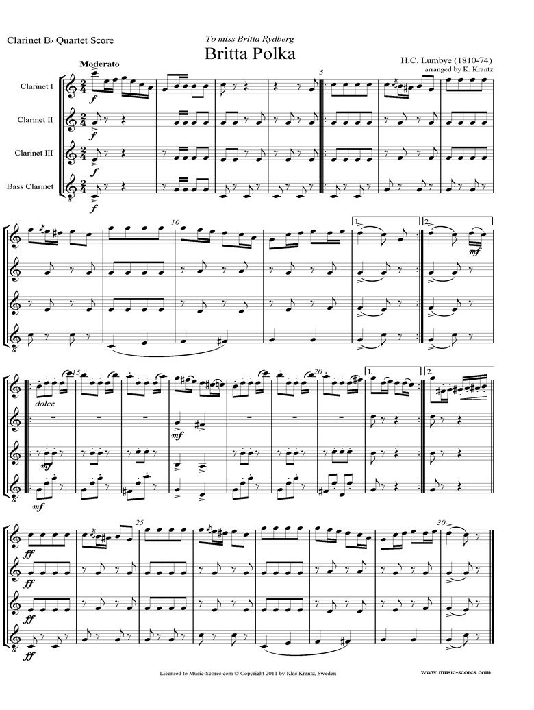 Front page of Britta Polka: 3 Clarinets and Bass Clarinet, C major sheet music