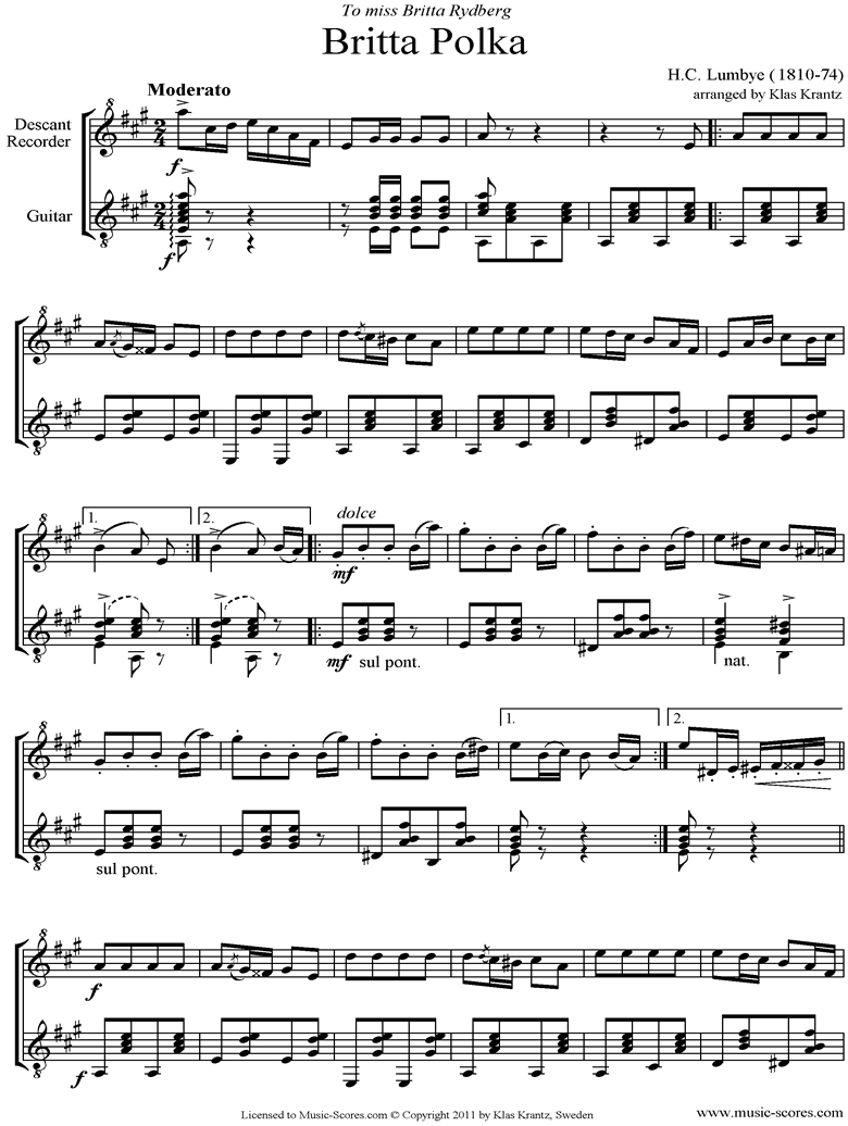Front page of Britta Polka: Descant Recorder and Guitar sheet music