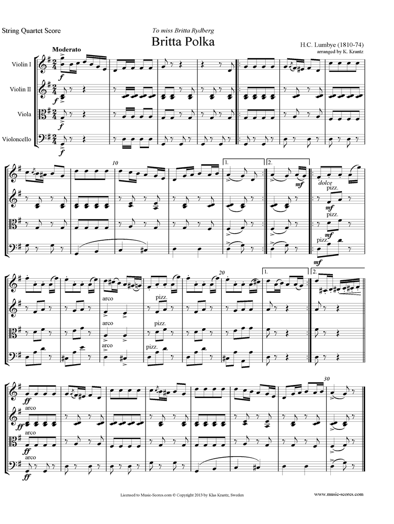 Front page of Britta Polka: String Quartet sheet music