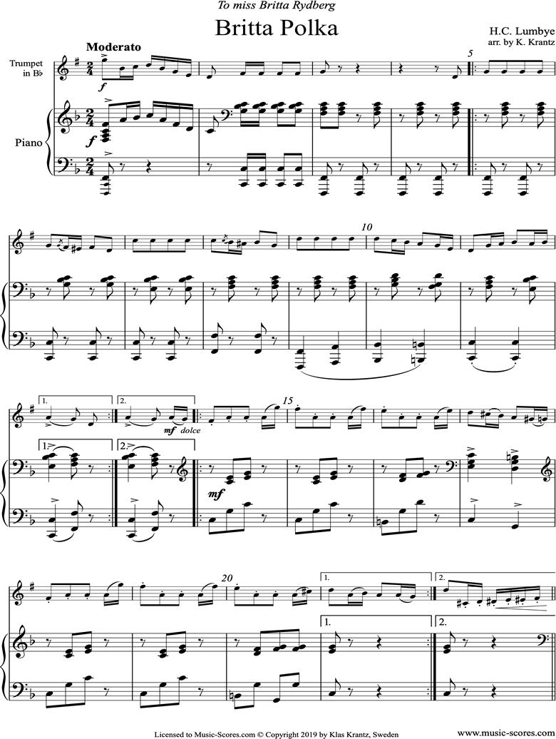 Front page of Britta Polka: Trumpet and Piano sheet music
