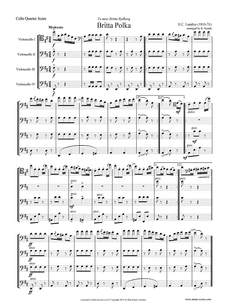 Front page of Britta Polka: 4 Cellos sheet music