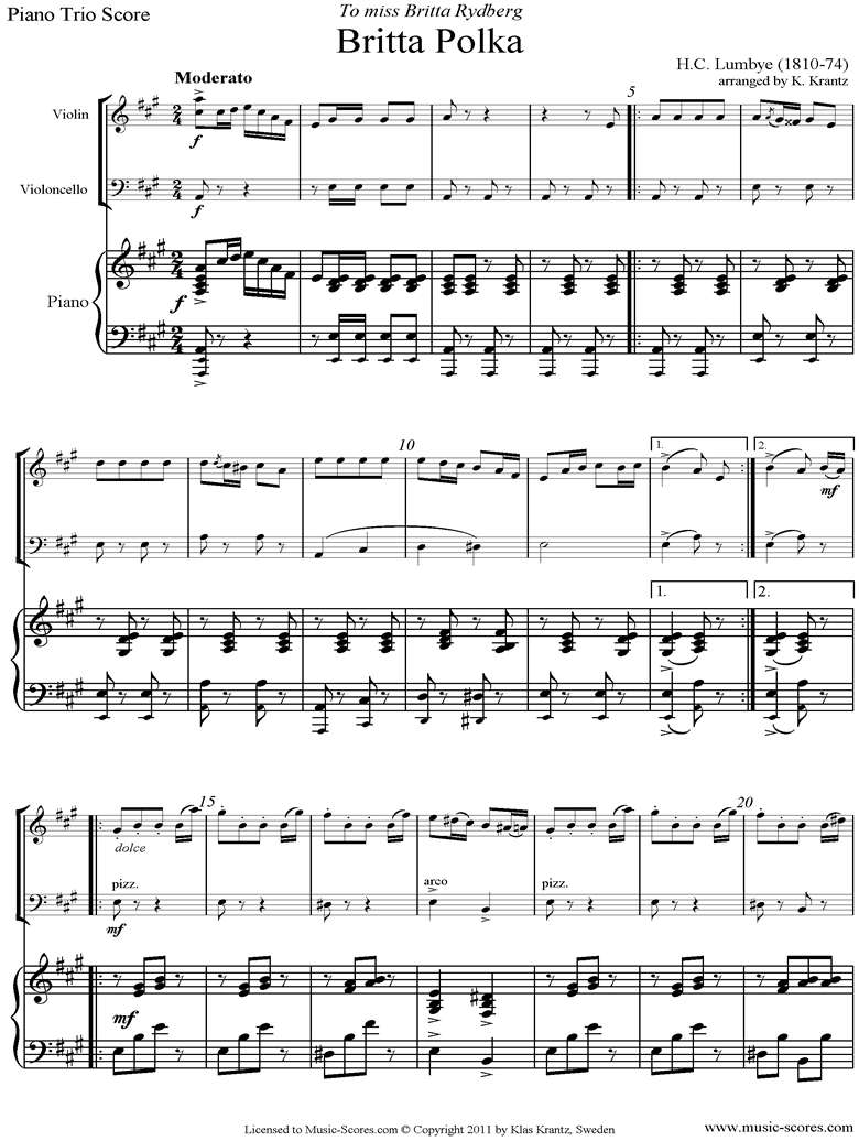 Front page of Britta Polka: Piano Trio: Violin, Cello, Piano sheet music