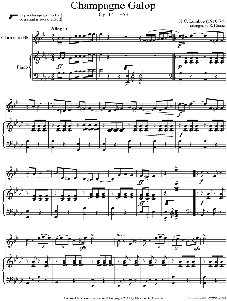 Front page of Champagne Galop: Clarinet and Piano sheet music