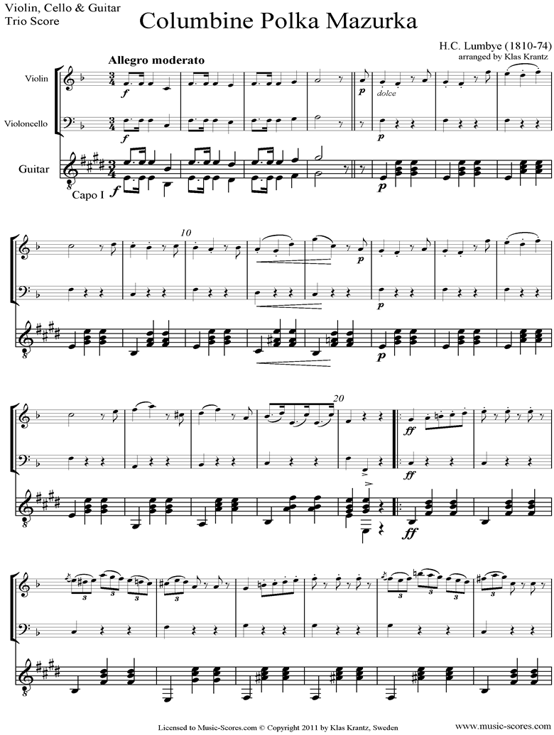 Front page of Colombine Polka Mazurka: Violin, Cello, Guitar sheet music