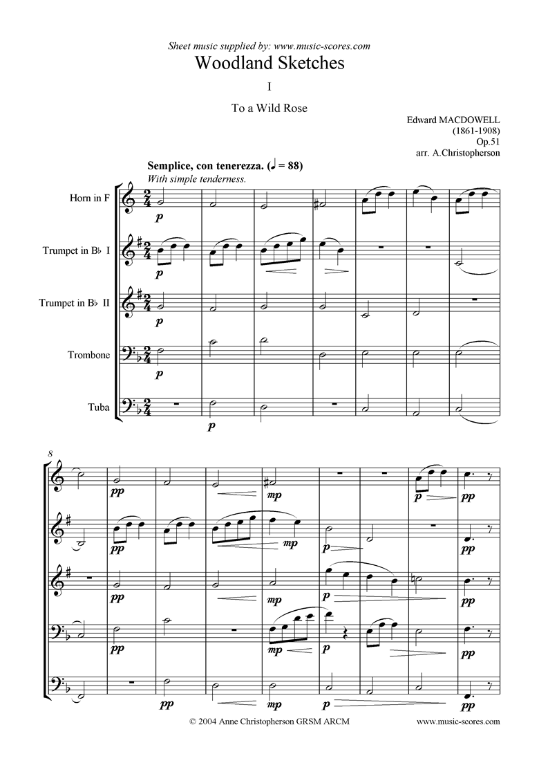 Front page of To a Wild Rose: horn, 2 trumpets, trombone, tuba sheet music