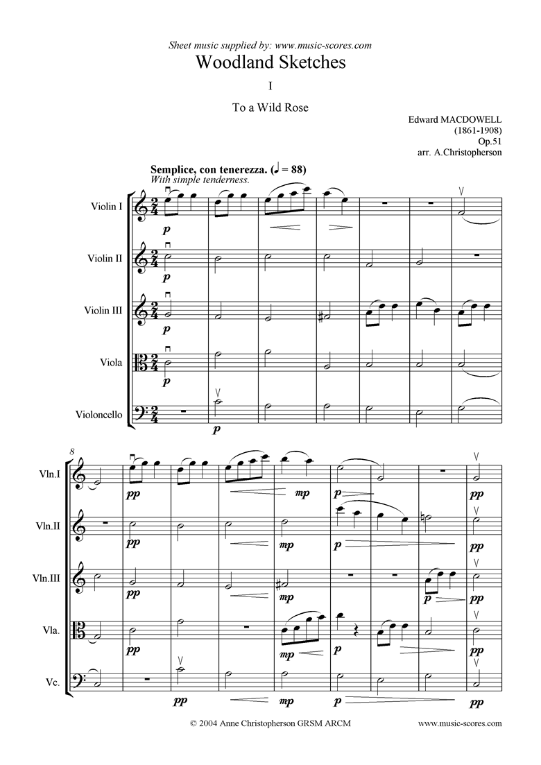 Front page of To a Wild Rose: 3 violins, viola, cello sheet music