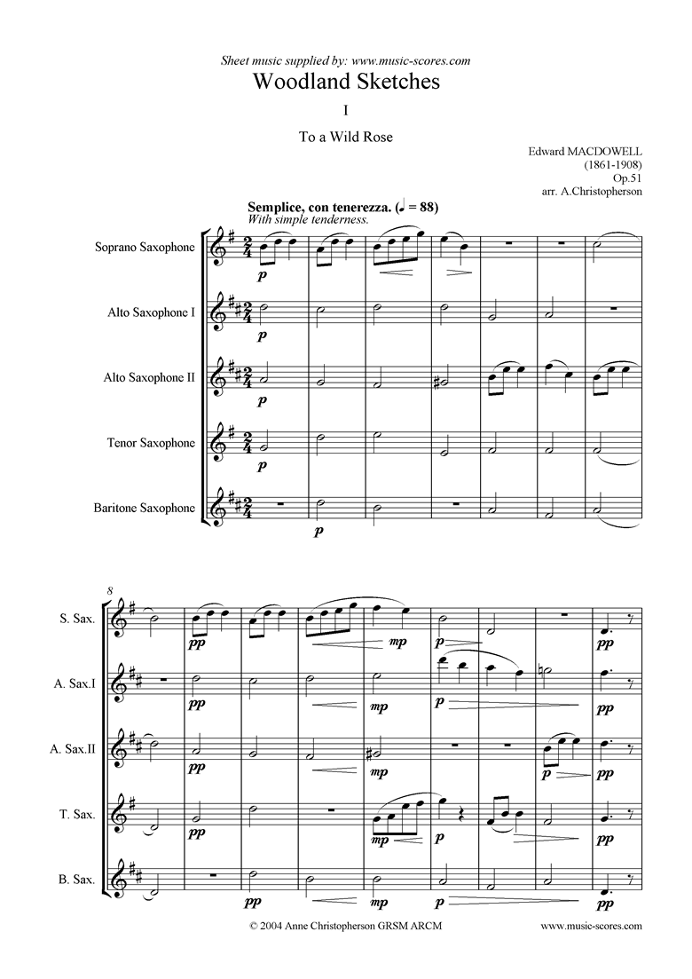 Front page of To a Wild Rose: soprano, 2 altos, tenor, bari sax sheet music