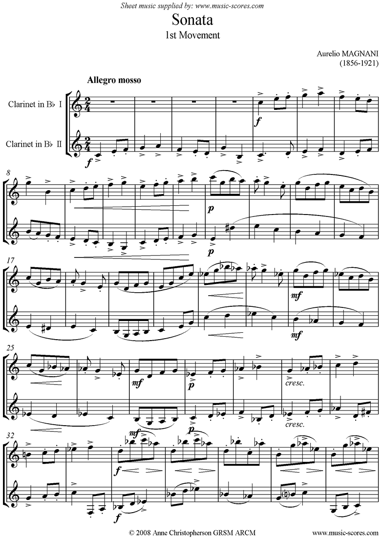 Front page of Sonata 2 Clarinets: 1st mvt: Allegro Mosso sheet music