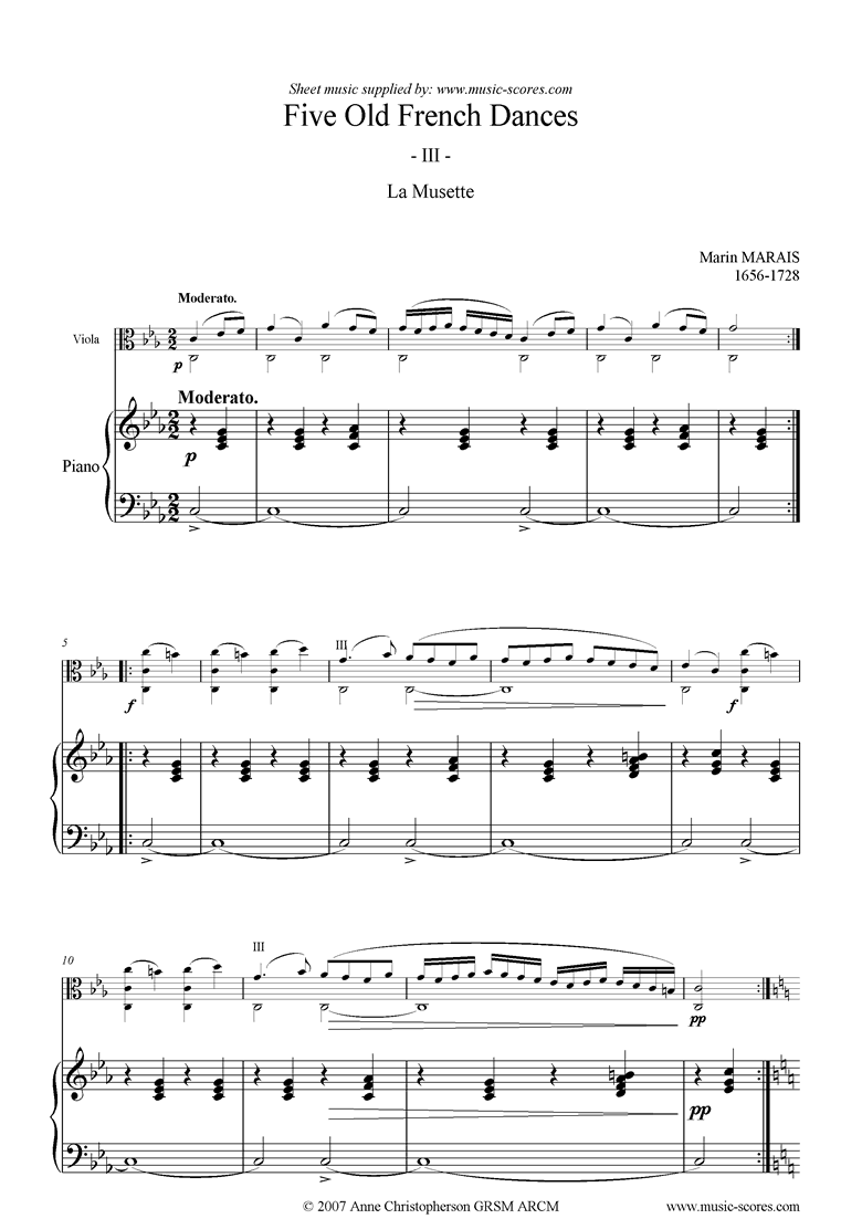 Front page of 5 French Dances: 3: La Musette sheet music