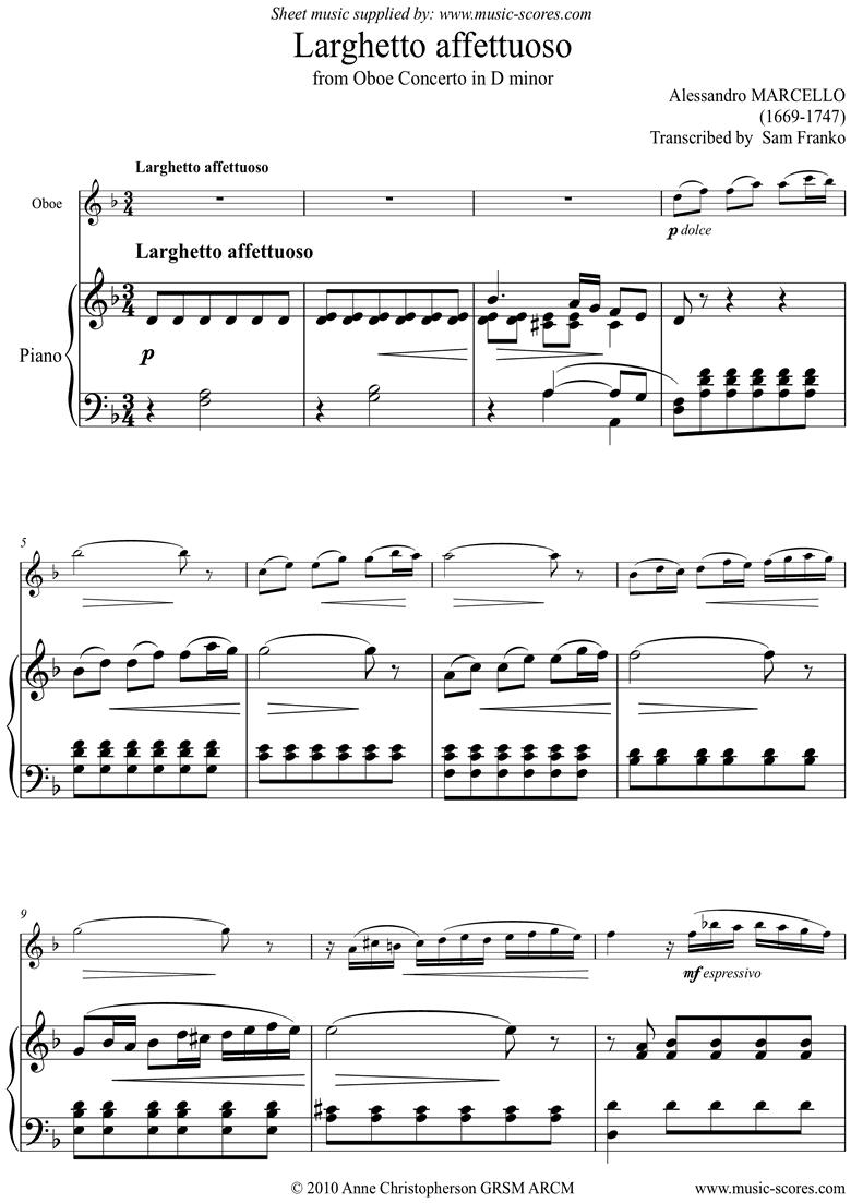 Oboe Concerto: 2nd mvt: Larghetto Affettuoso: Oboe by Marcello-A
