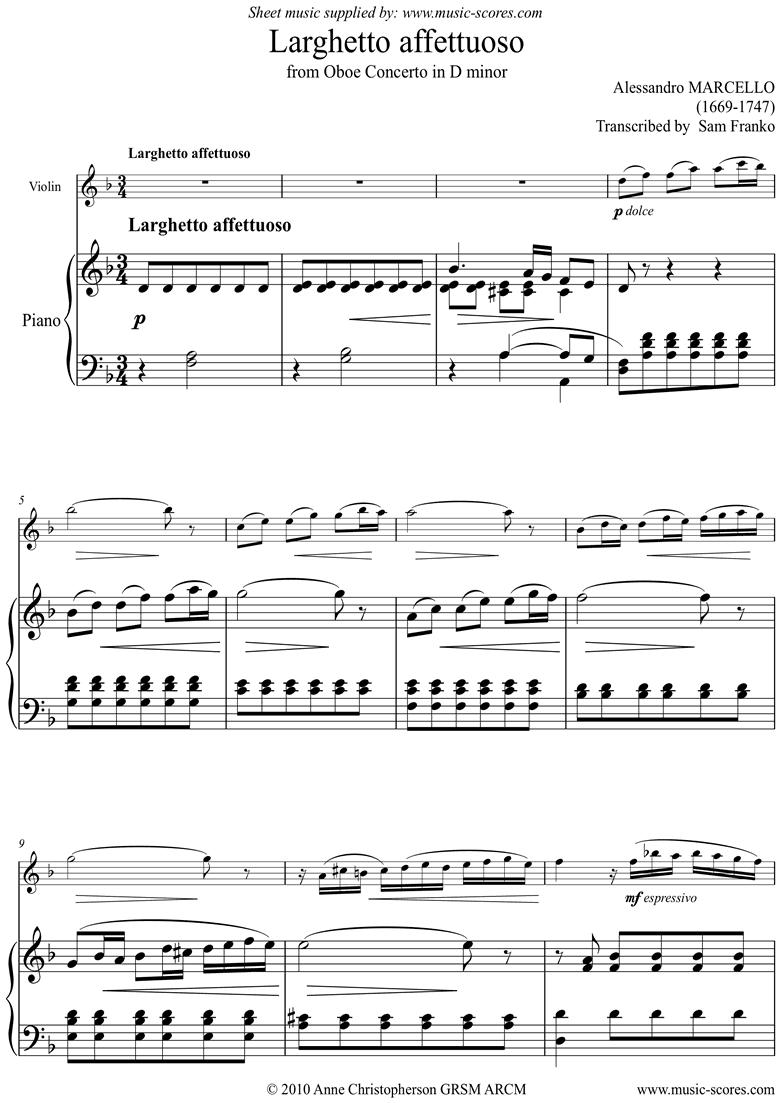 Larghetto Affettuoso: Violin by Marcello-A