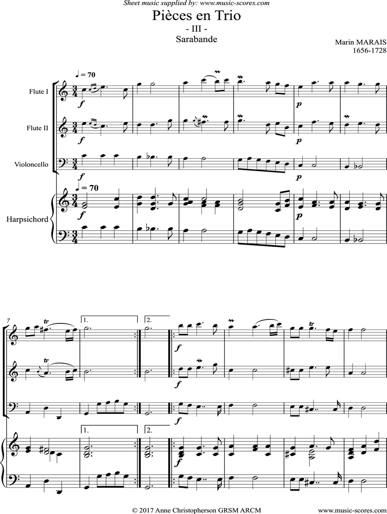 Front page of Pieces en Trio: 3: Sarabande: 2 Flutes, Continuo sheet music