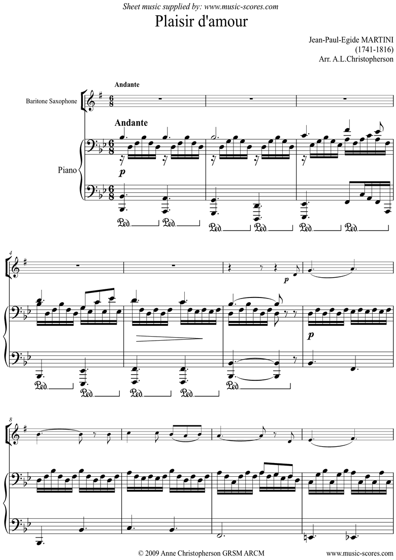 Front page of Plaisir d'Amour: Baritone Saxophone sheet music