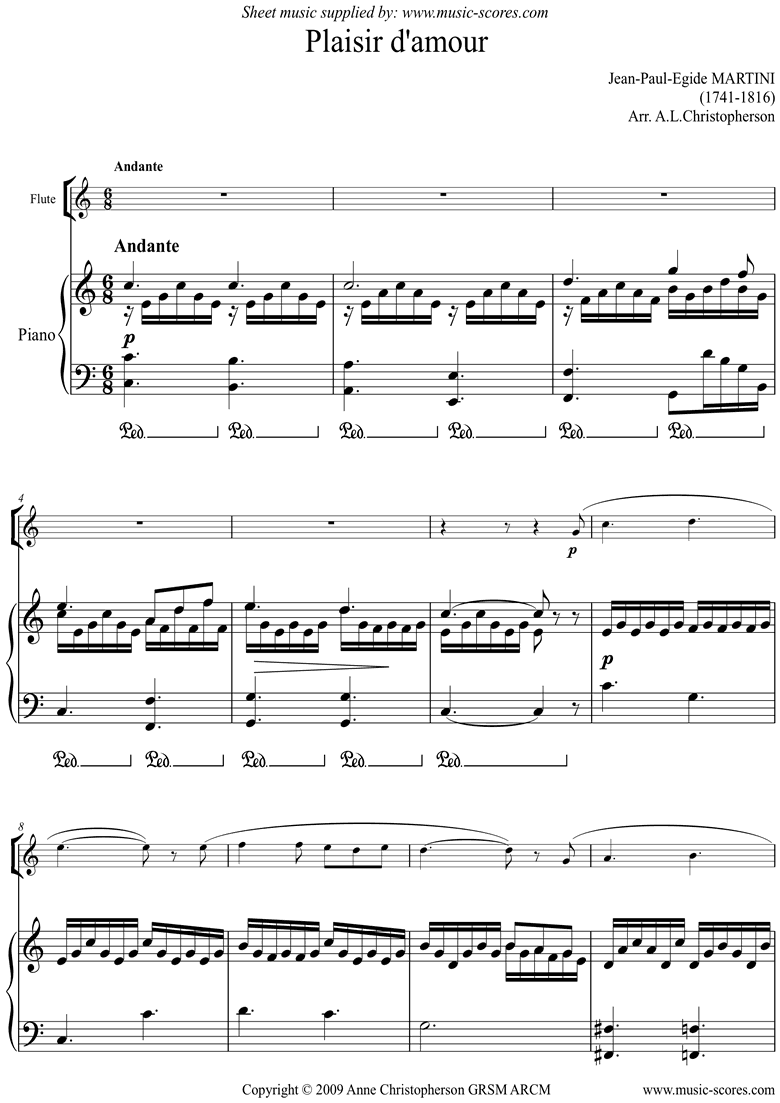 Front page of Plaisir d'Amour: Flute sheet music