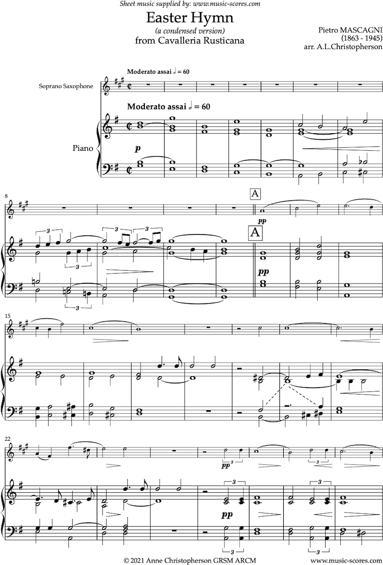 Front page of Cavalleria Rusticana: Easter Hymn: Soprano Sax sheet music