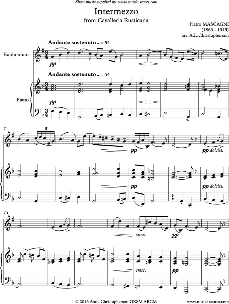 Cavalleria: Intermezzo: Euphonium by Mascagni