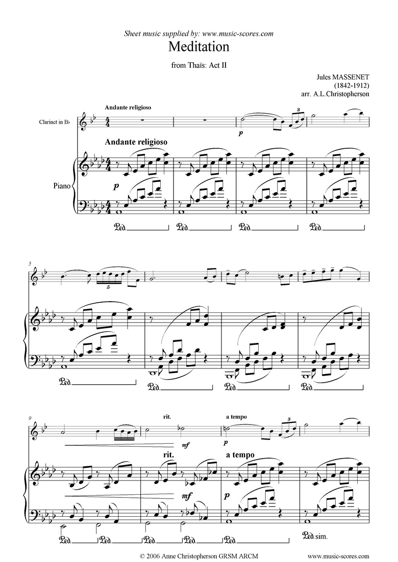 Front page of Thais, Act 2: Meditation: Clarinet: lower sheet music
