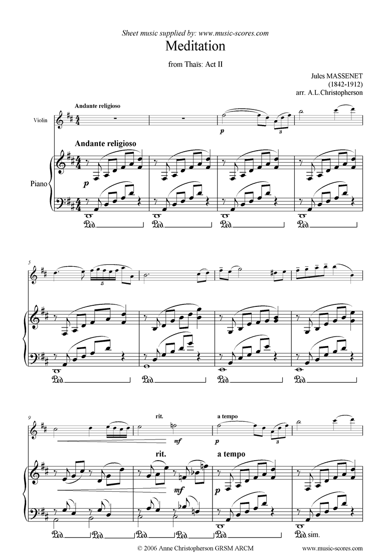 Front page of Thais, Act 2: Meditation: Violin sheet music