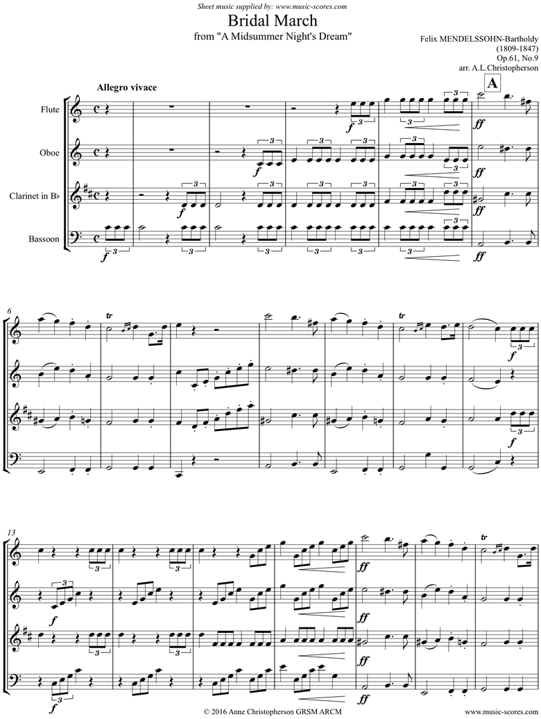 Front page of Op.61: Midsummer Nights Dream: Bridal March: Fl Ob Cl Fg sheet music