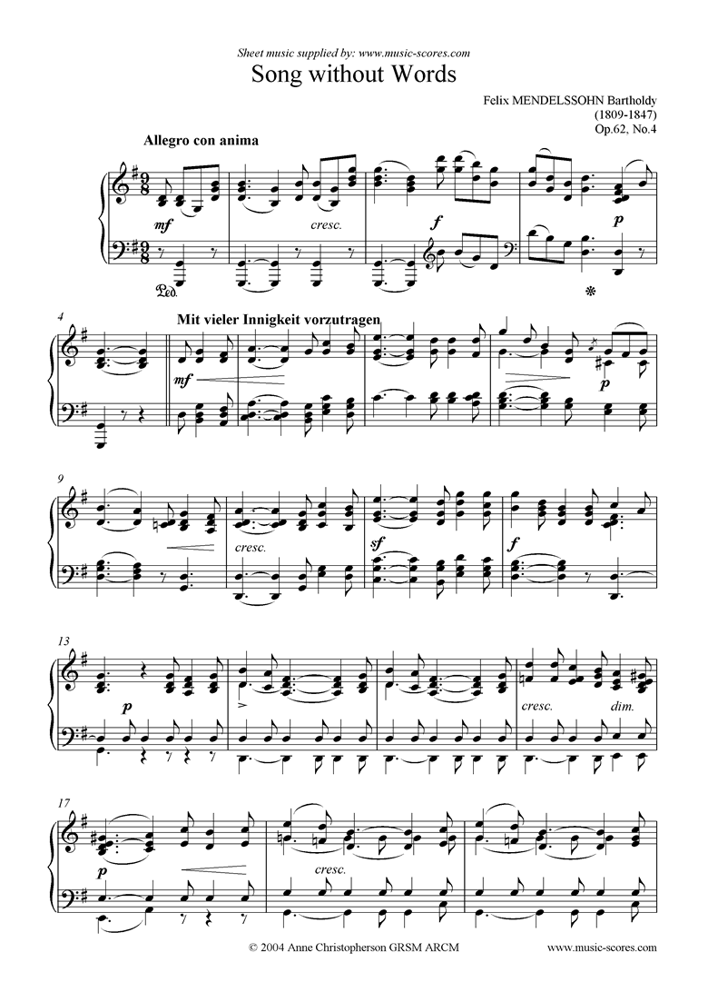 Front page of Op.62, No.4: Song Without Words sheet music