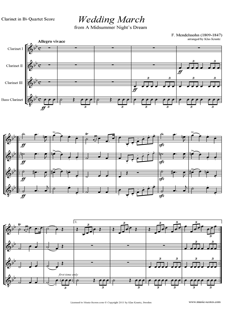 Front page of Op.61: Midsummer Nights Dream: Bridal March: 3 Clarinets, Bass Clarinet sheet music