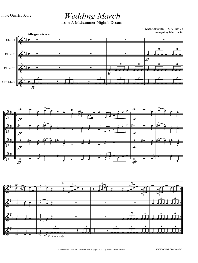 Front page of Op.61: Midsummer Nights Dream: Bridal March: Flute Quartet sheet music