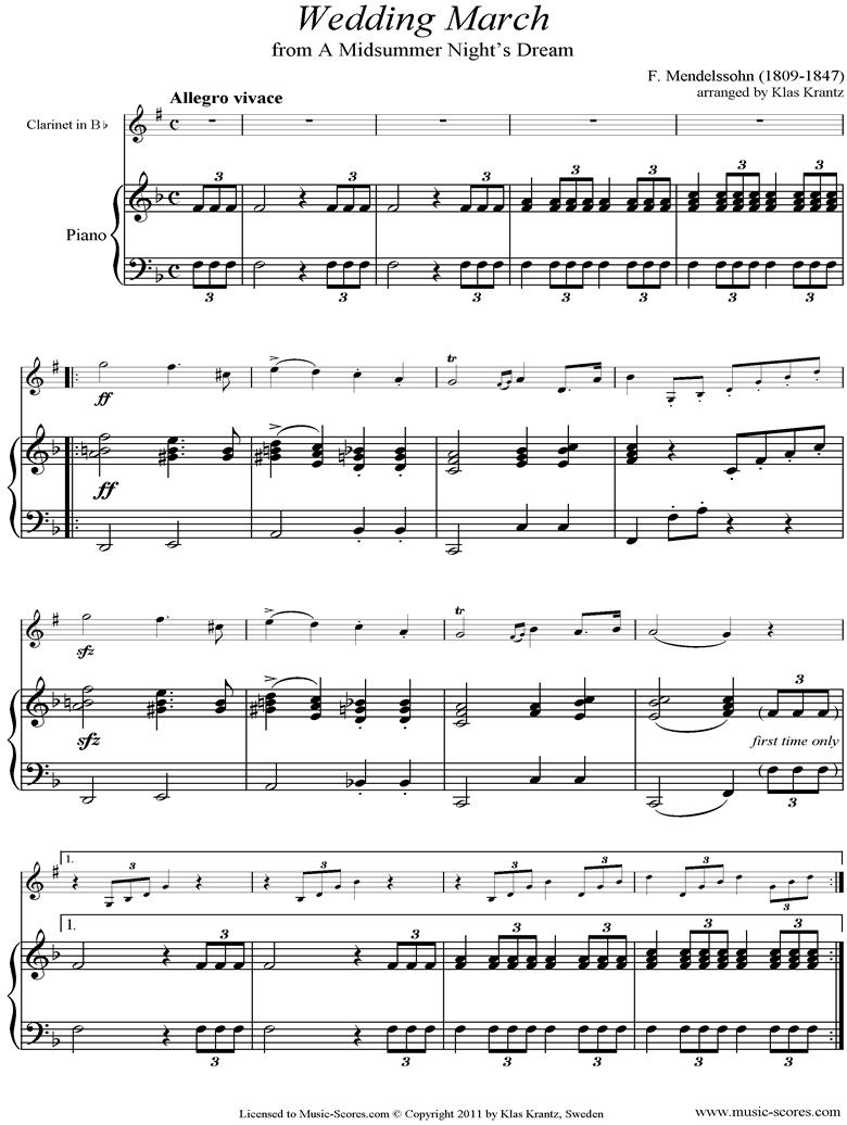 Op.61: Midsummer Nights Dream: Bridal March: Clarinet, Guitar by Mendelssohn