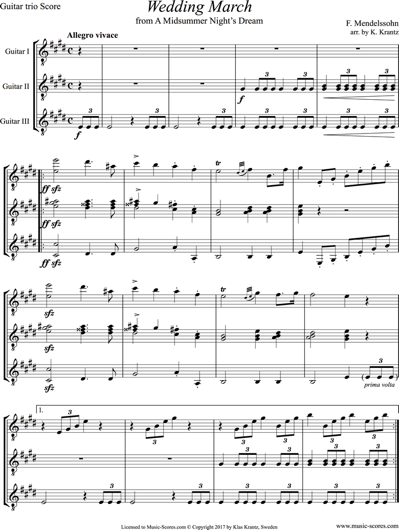 Front page of Op.61: Midsummer Nights Dream: Bridal March: Guitar Trio sheet music
