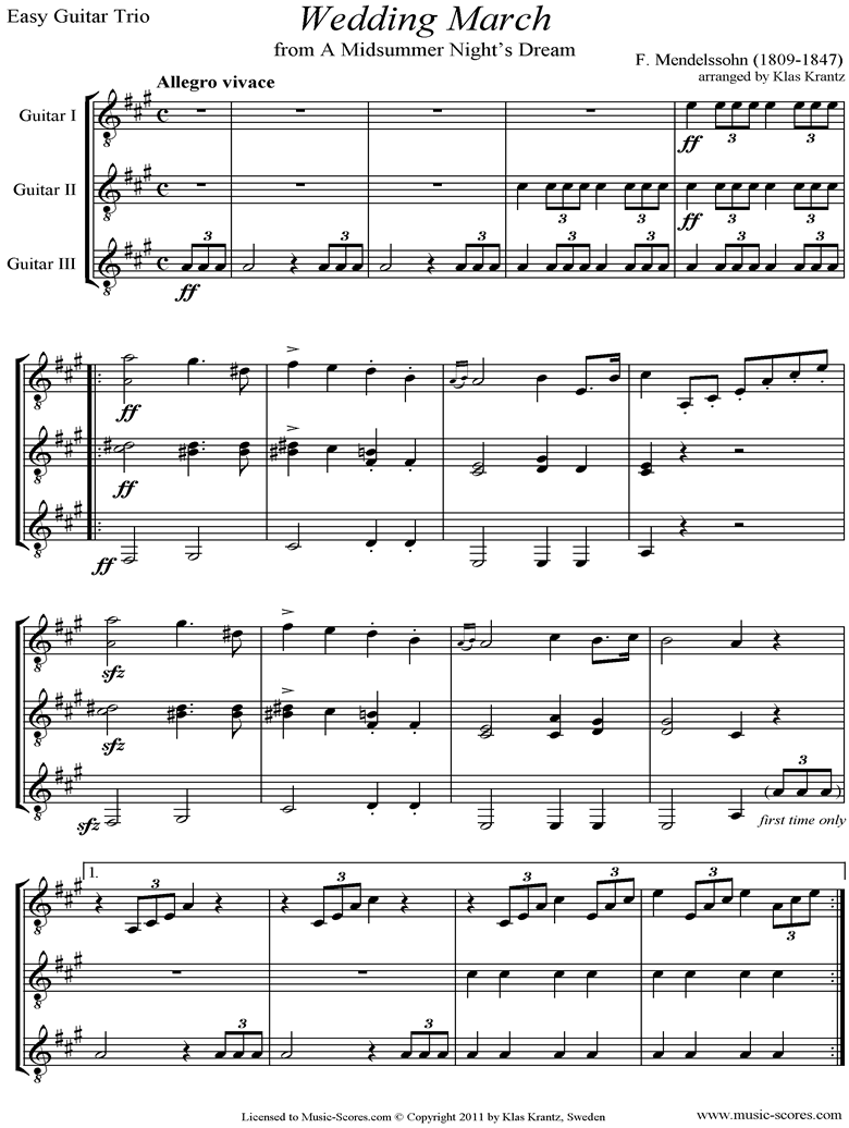 Op.61: Midsummer Nights Dream: Bridal March: Guitar Trio easy by Mendelssohn