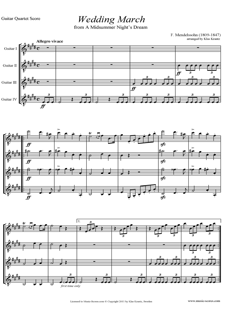 Front page of Op.61: Midsummer Nights Dream: Bridal March: Guitar Quartet sheet music