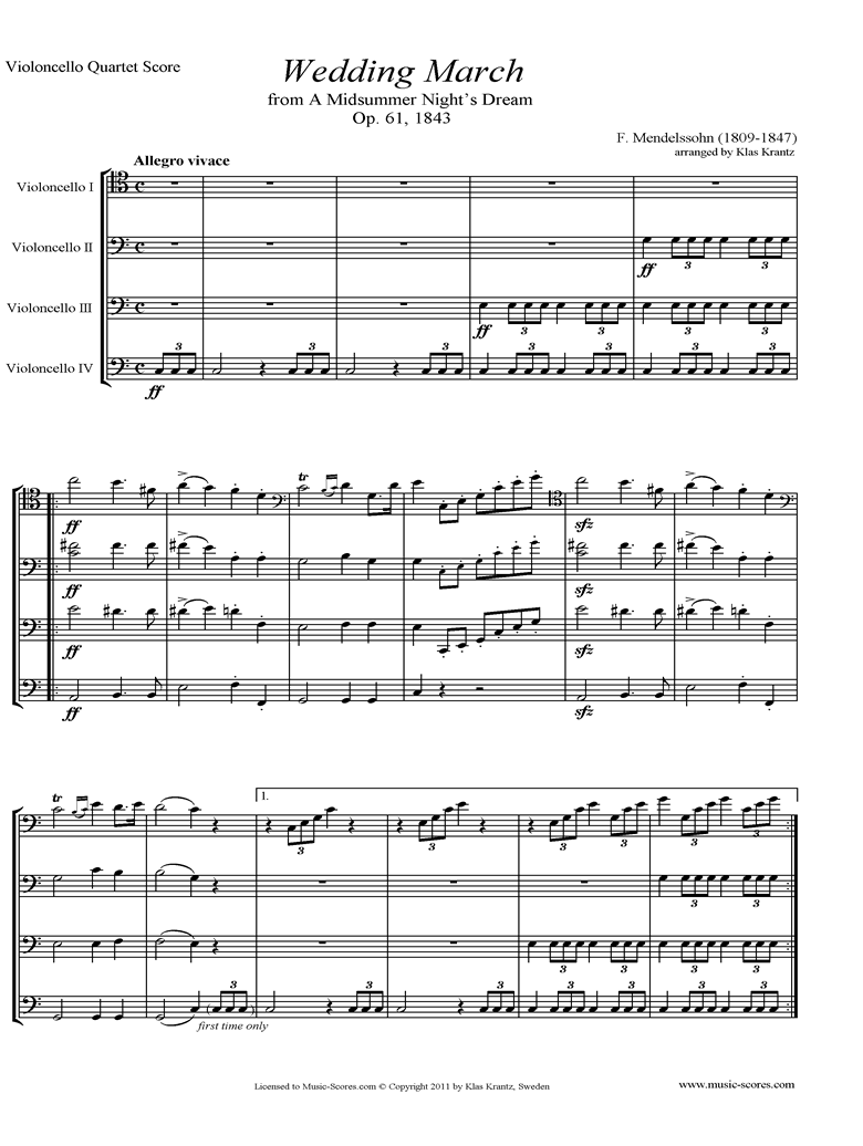 Front page of Op.61: Midsummer Nights Dream: Bridal March: Cello Quartet sheet music