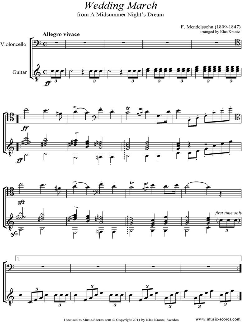 Op.61: Midsummer Nights Dream: Bridal March: Cello, Guitar by Mendelssohn