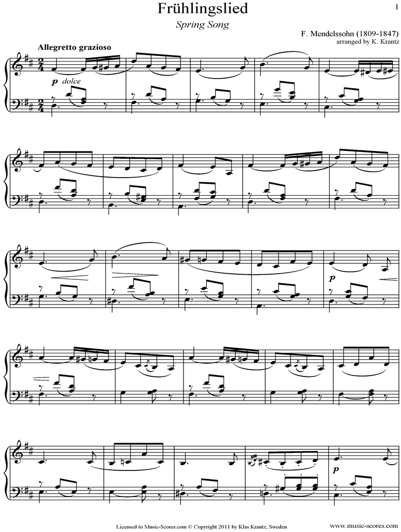 Front page of Op.62: Fruhlingslied:  easy Piano, short sheet music