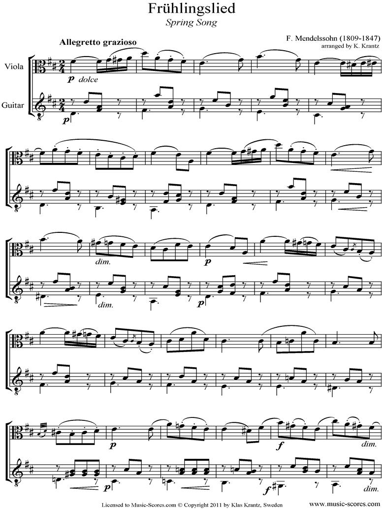 Op.62: Fruhlingslied: Viola, Guitar by Mendelssohn