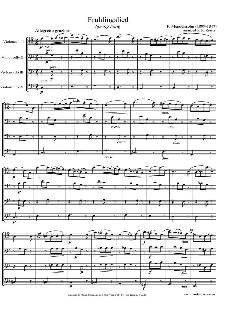 Op.62: Fruhlingslied:  Cello Quartet by Mendelssohn