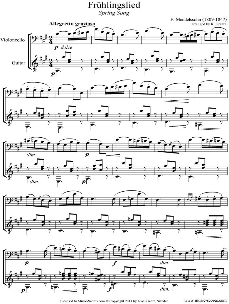 Op.62: Fruhlingslied: Cello, Guitar by Mendelssohn